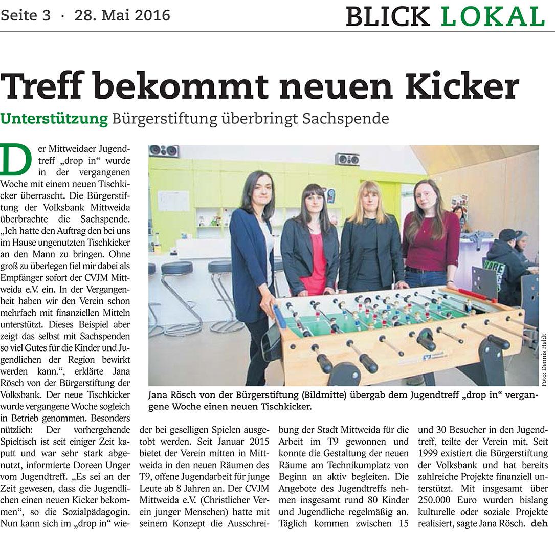 Am 28. Mai berichtete Dennis Heldt im BLICK Mittweida: Der drop in erhält von der Volksbank Mittweida eG und ihrer Bürgerstiftung einen neuen Kicker.